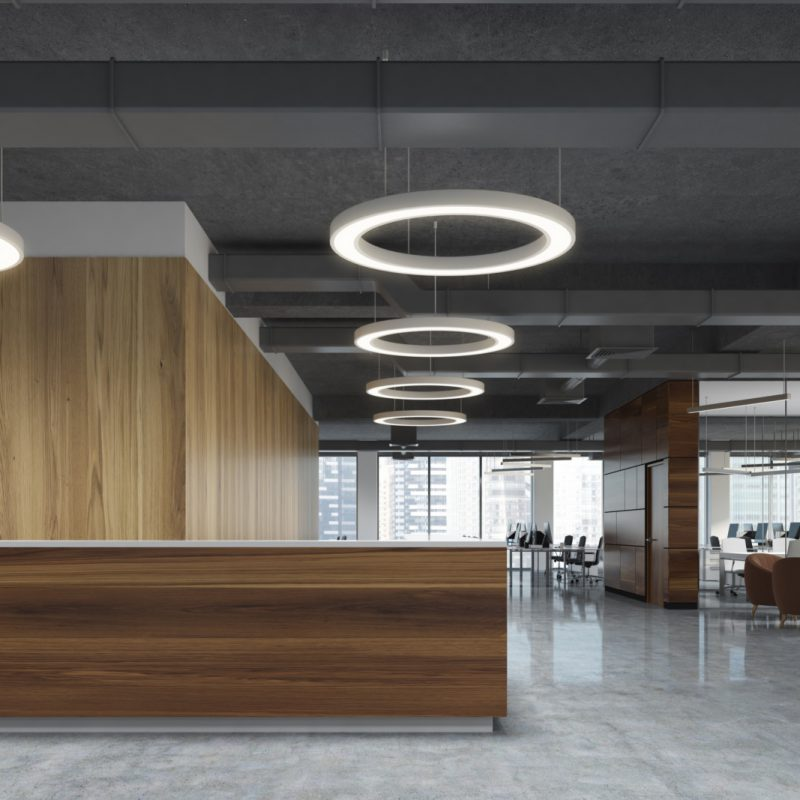 Modern office interior reception area